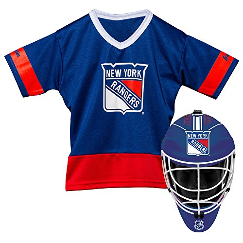 Franklin Sports New York Rangers Kid's Hockey Costume Set - Youth Jersey & Goalie Mask - Halloween Fan Outfit - NHL Official Licensed Product