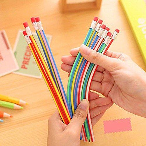 ghhshjhlk 5 Piezas De Magia Colorida Bendy Lápices Suaves Flexibles Lápiz Con Borrador Niños Estudio Regalo Arte Proyecto Accesorios, útiles Escolares 1