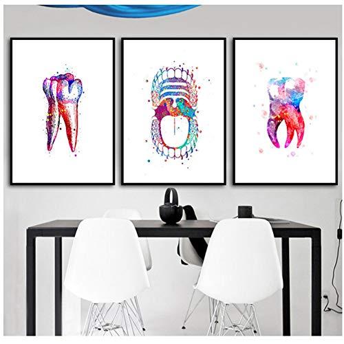 czjungbf Diente Acuarela Imprimir Dental Art Dentista Poster Dientes Humanos Anatomía Estomatología Decoración Clínica Decoración de Pared para niños Dormitorio -50x70cm Sin Marco