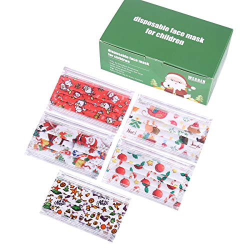 50Pcs Kids Disposable Christmas 3 Ply Breathable & Comfortable Face Mouth Filter Tools for Children Colorful Cute For kids