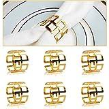 COCHIE Serviettenringe Gold, Metall serviettenring Serviettenschnallen Blume für Hochzeitsfeier Abendessen Jubiläum Tischdekoration 6 Stück (Gold 1)