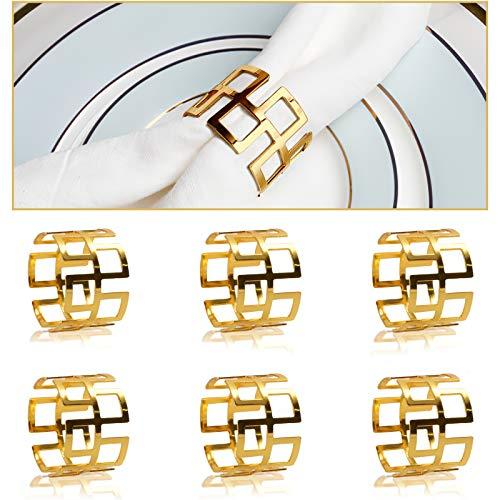 COCHIE Serviettenringe Gold, Metall serviettenring Serviettenschnallen Vintage für Hochzeitsfeier Abendessen Jubiläum Tischdekoration 6 Stück
