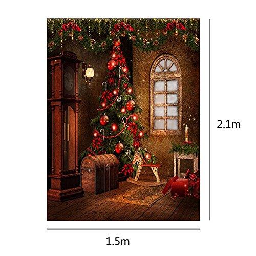 MASUNN 5X7Ft 3X5Ft kerstboom geschenk muur Vinyl fotografie achtergrond foto achtergrond, 1.5 * 2.1m