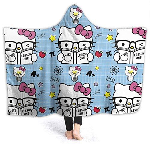 Manta de forro polar con capucha para regreso a la escuela, diseño de Hello Kitty, para adultos, hombres, mujeres, niñas, niños, 50 x 40 pulgadas