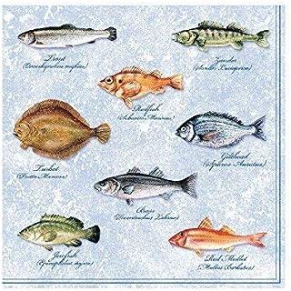 Ambiente 20 st. servetten papieren servetten 3-laags Seafood Fishes Vissen Blauw Wit 33 x 33 cm