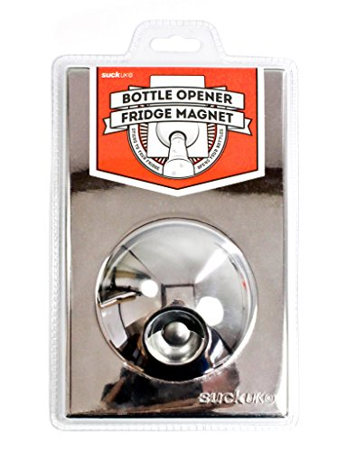 STAINLESS STEEL BOTTLE OPENER FRIDGE MAGNET Suck UK SK BOFM01 SS - Abridor de Botellas imán de Nevera, Color Cromo
