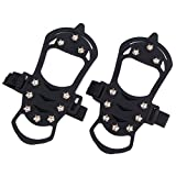 Alamor Antideslizante Crampon Shoe Boot Grip Ice Cleat Spike Snow Strap 10 Dientes-M