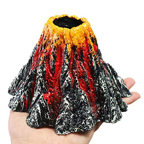 Sdkmah9 Realistic Fish Tank Landscaping Volcano Ornaments with Air Bubbler Stone, Great Landscape Addition for Fish Tank Aquarium Tank Decor, Home Fish Tank Decoration Volcano Stone