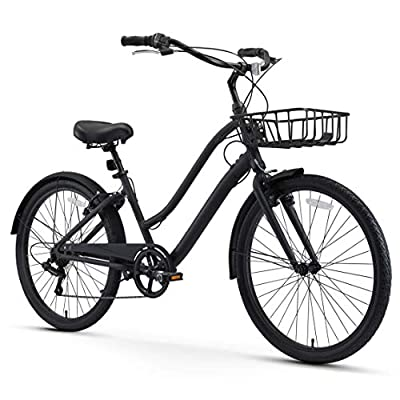 """sixthreezero EVRYjourney Men's Casual Edition 7-Speed Sport Hybrid Cruiser Bike w/Integrated Cable Lock and Basket, 26"""" Bicycle, Matte Black with Black Seat and Black Grips"""