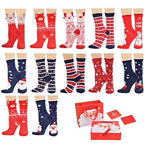 Vertvie 12 pares de calcetines navideños unisex calcetines navideños motivo navideño calcetines navideños de algodón diseño mixto para mujeres y hombres