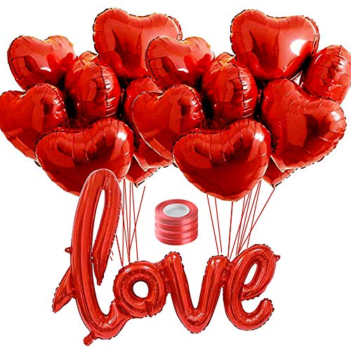 """FLOFIA Juego 20pcs Globos Corazón 18"""" + 1pc Globo Amor Love 40"""" Rojo Globos Helio Foil Globos Papel de Aluminio Lámina Metalicos con Cintas para Boda San Valentín Aniversario Fiestas Decoracón"""