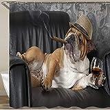 BEITUOLA Neueste Duschvorhänge Duschvorhang Mit Haken Funny Dog Cute Pet Brown Bulldog mit Zigarre & Champagner Wasserdicht Bad Vorhang Waschbar Bad Vorhang Polyester Stoff mit 12 Haken 180x180 cm