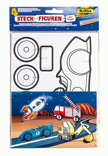 folia 23349 - Steckfiguren aus Pappe, Fahrzeuge, 4 Stück - ideal für das Basteln und Gestalten mit Kindern
