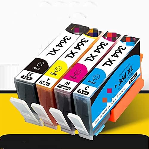 ESORST 4 Cartucho de Tinta de Impresora Negra para HP364XL HP 364 XL por HP Photosmart 5510 5515 6510 B010A B109A B209A Deskjet 307 0A HP 364 (Color : 4pcs (Not pbk))
