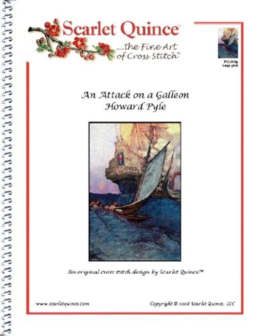 Scarlet Quince PYL001lg An Attack on a Galleon by Howard Pyle Counted Cross Stitch Chart, Large Size Symbols