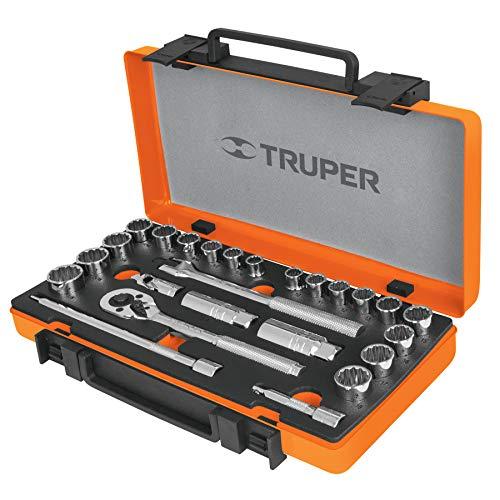 Truper JD-3/8X26MP, Juego de autoclé de 26 piezas mixto, 3/8'