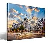 Cuadro Canvas Calle de Alcalá de Madrid - 95cm x 70cm - Fabricado en España