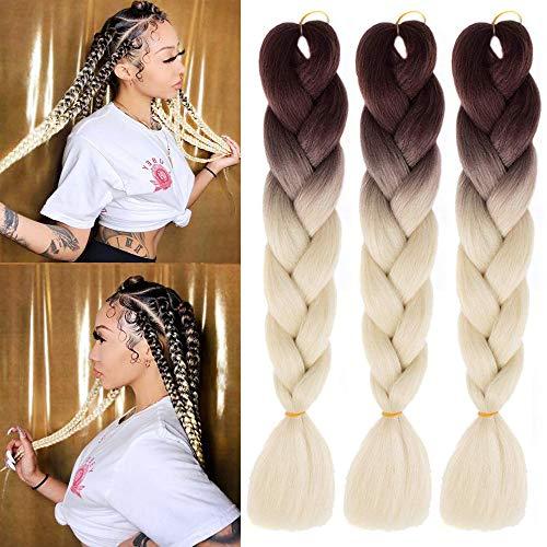 MSCHARM 5 Packs Jumbo Braiding Hair Extensions Ombre Box Braids 24 Inch Twist Crochet braids Synthetic Fiber Hair for Women And Girls 100g/Pack (Brown-Light White)