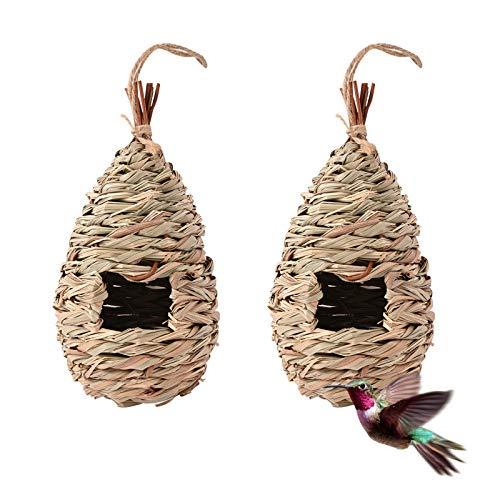 Swedan Humming Bird Houses for Outdoor Hanging,Set of 2 Natural Grass Hanging Bird housenest,Hand Woven Hummingbird Nest,Large Wren Finch Bird House for Garden Window Outdoor Home