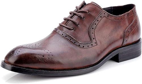 DINGGUANGHE-zapatos Charol Elegantes y cómodos, Transpirables, Oxford, clásico, de Color clásico para Hombre y Tallados, Transpirables y con Brogue zapatos Ropa Formal zapatos de Vestir