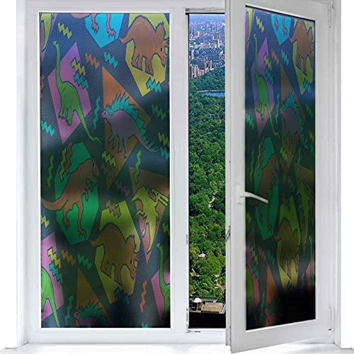 Película de privacidad para ventana, diseño de mapa de bit, animal, dinosaur, cristal antirrayos UV para el hogar y la oficina W 17,7 pulgadas x L 78,7 pulgadas