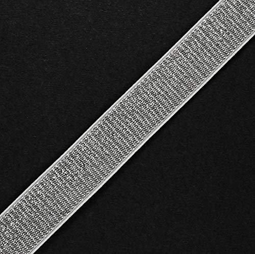 Trim 4-Yards 20mm (3/4'') Metallic Elastic Stretch Ribbon, Elastic Band, TR-11639 (Silver/White)