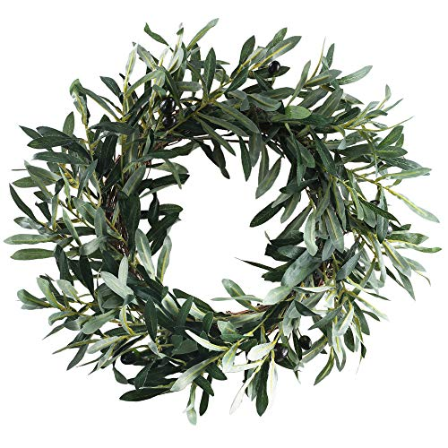 HO2NLE 18.5 inches Artificial Olive Wreath for Front Door Decor Spring and Summer Faux Silk Garland Home Office Wall Window Wedding Decorations