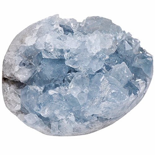 rockcloud Natural Raw Blue Celestite Mineral Healing Crystal Cluster Geode Irregular Home Decoration Gemstone Specimen Large