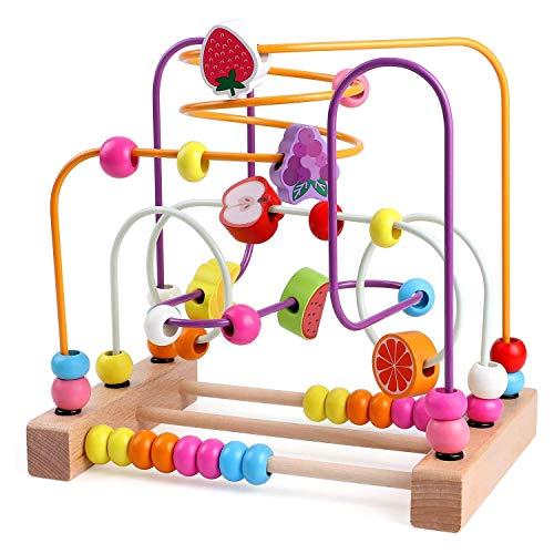 HLD Modelado creativo Bead de tres cables Forma de fruta de madera Reconocimiento de color Entrenamiento práctico Entrenamiento de la primera infancia Educación del cerebro juego Juguetes para primera