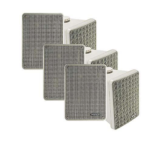 KICKER KB6 Indoor Outdoor Patio Speaker Bundle in Gray- 6 Speakers Total