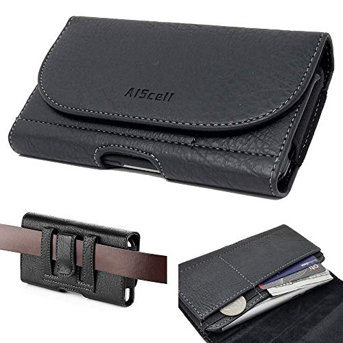 AISCELL Pouch Black Wallet Leather Sleeve Carrying Case Belt Clip Holster for iPhone 12 Pro Max,11 Pro Max,Xs Max,XR,8 Plus,7 Plus, 6S Plus with Hybrid Protective Cover Skin Case Cover on 09