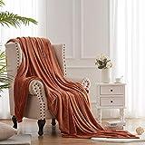 Hboemde Soft Summer Blanket Throw/Travel Size Fleece Warm Fuzzy Throw Blankets Lightweight Microfiber for Couch Bed Sofa All Season(Rust,50x60)