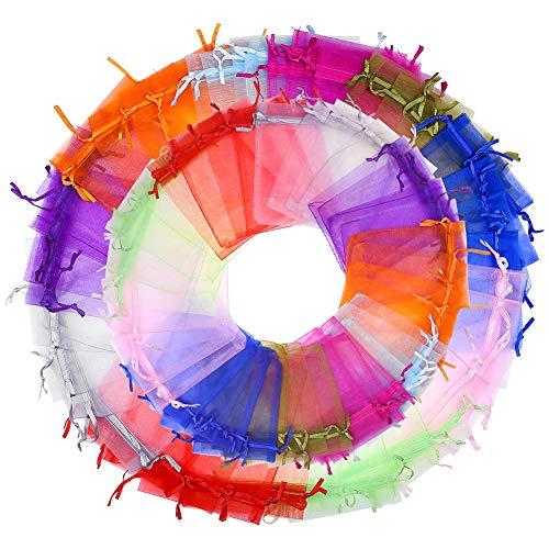 falllea 200 Piezas de Bolsas de Organza Bolsas de Joyas Bolsas Organza de Regalo con Cordón Bolsas de Dulces Bolsas de Caramelo para Boda Favores y Joyas Caramelo Dulces (Colores)
