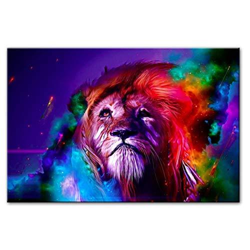 WANGHH Pinturas abstractas de la Lona del león de la Acuarela en la Pared Arte decotativo Imágenes de la Pared Arte Pop Impresiones de la Lona para la habitación de los niños (60X80Cm sin Marco)