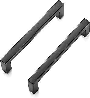Ravinte 10 Pack Solid 3-3/4 InchCenter to CenterSlim SquareBarDrawer HandlesKitchen Cabinet Handles Black Drawer Pull...