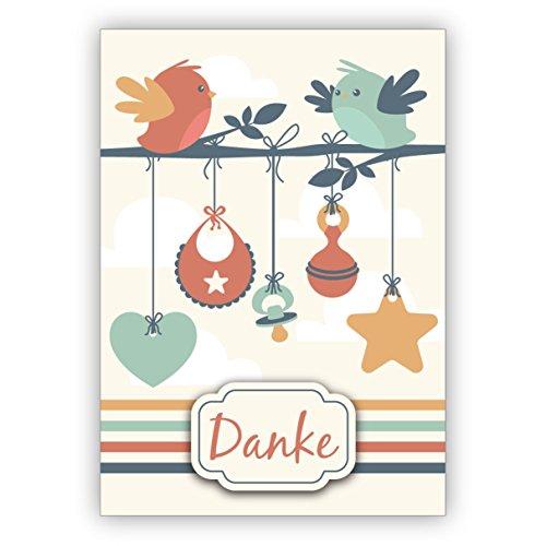 Schattige bedankkaart voor de geboorte van een baby met hart, vogels, slabbetjes en fopspeen (bedankje) rechtstreeks verzonden met uw tekst op de inlegger • betoverende dank voor de felicitaties en de geboorte van uw baby 1 Grußkarte