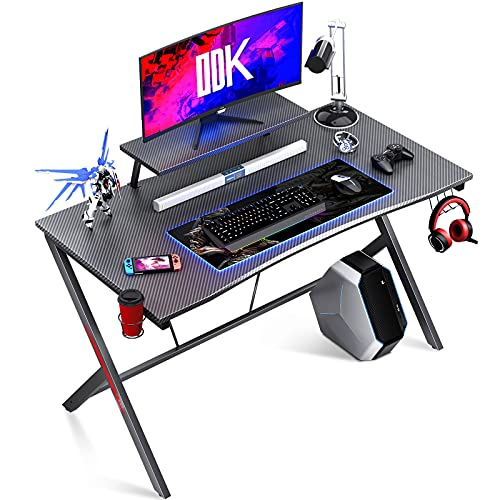 ODK Gaming Desk with Carbon Fiber 115 x 60cm, Computer desk with Headphone Hook and Cup Holder,...