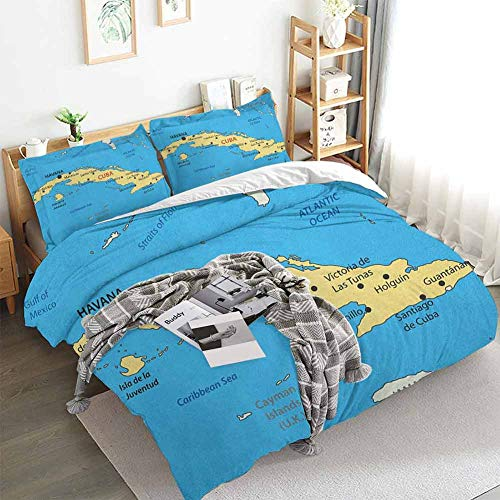 Aishare Store Wanderlust Duvet Cover Set,Republic of Cuba Modern Geographical Island Atlantic Ocean Illustration,Decorative 3 Piece Bedding Set with 2 Pillow Shams,King(104'x90') Blue White Yellow