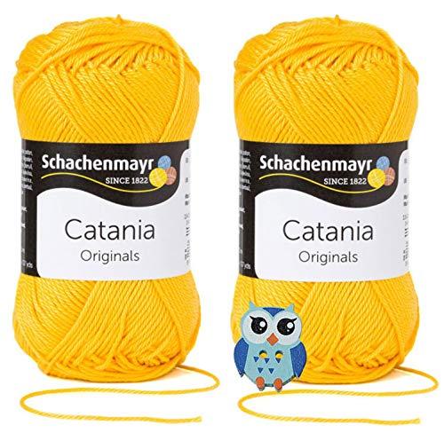 Schachenmayr Catania Wolle 2x50 Gr, 100% Baumwolle + 1 Eulen Knopf(208 Sonne)