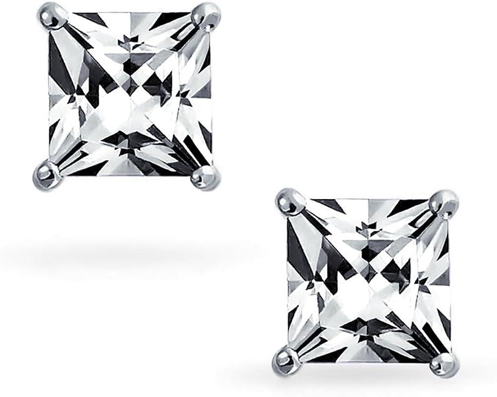 .75CT Carr/é Noir G/éom/étrique Zircone Cubique Princesse Coupe CZ Clous Et Puces DOreille Pour Homme Argent Sterling