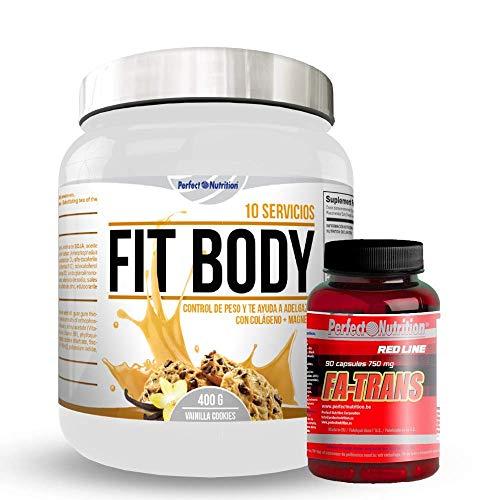 Gewichtsverliespakket: maaltijdvervangende shake + vetverbrandend thermogeen dieet voor mannen en vrouwen (vanille-koekjes)