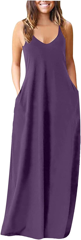 Tavorpt Summer Dresses for Women Casual V-Neck Sleeveless Spaghetti Strap Solid Color Party Beach Sundress Long Dress