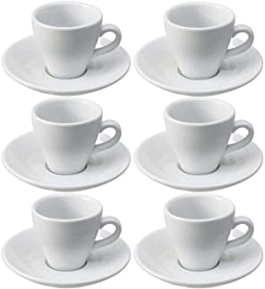 Viva Haushaltswaren Lot de 6 Tasses à café Expresso avec sous Tasses en Porcelaine Blanche