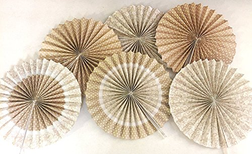 "Burlap and Lace Printed Paper Fans, 14"", (Set of 6), Wedding, Shower, Decorations, Party"