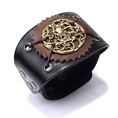 WXYBF Armband Mannen Cowboy Lederen Armbanden Punk Goud Rock Armband Polsband Bangle Mode Sieraden