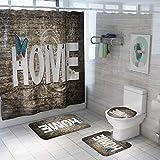 Ginsenget Badematten 4Teilig,Badezimmerteppich Set 4 Teilig Für Hänge Wc,Badewanne Vorhang Set,Nicht Gerüche,BPA-frei,Liebe