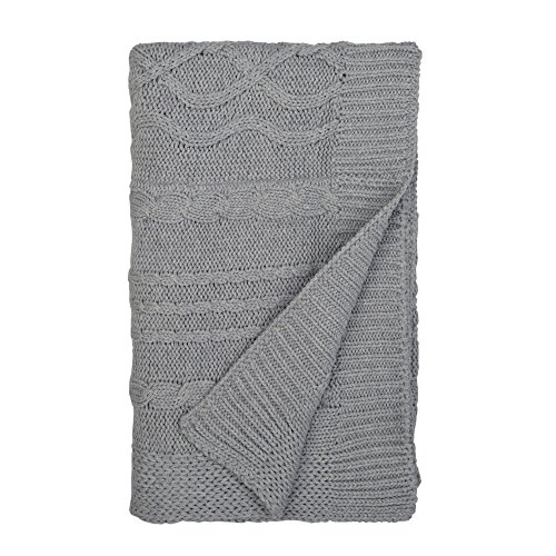 "Burt's Bees Baby - Cable Knit Blanket, Baby Nursery & Stroller Blanket, 100% Organic Cotton, 30"" x 40"" (Heather Grey)"