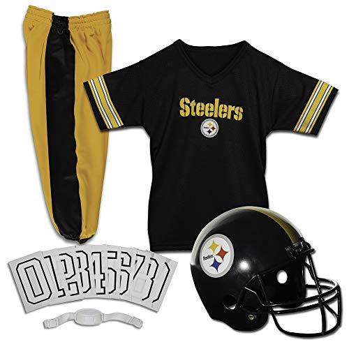 Franklin Sports Pittsburgh Steelers Kids Football Uniform Set – NFL Youth Football Costume for Boys & Girls – Set Includes Helmet, Jersey & Pants – Medium