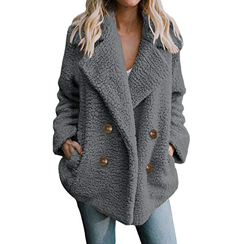 SturrlyWomen's Fashion Long Sleeve Lapel Zip Up Faux Shearling Shaggy Oversized Coat Jacket with Pockets Warm Winter Grey