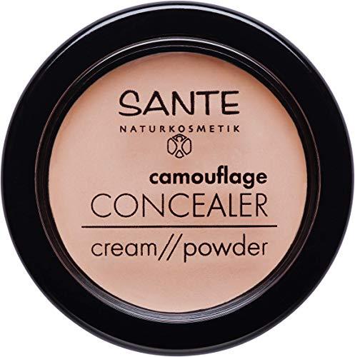 SANTE Naturkosmetik Camouflage Concealer, 02 Sand, Deckt Schatten & Makel ab, Zum Contouring geeignet, Vegan, 1 x 3g